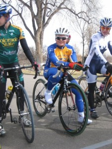 Missy Erickson lines up for the crit in Denver City Park.