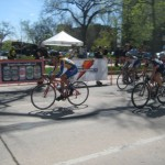 Tina Dominic rides the front in the Criterium