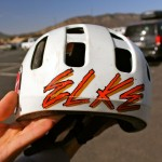 Elke's first pro helmet from Schwinn.