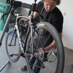 Mechanic Ben working on a Sweet SWorks in the garage.