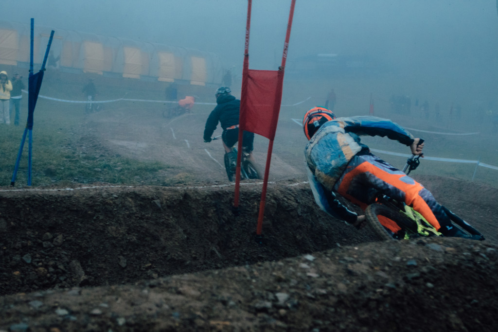 Foggy morning dual slalom qualifier